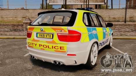 BMW X5 City Of London Police [ELS] para GTA 4 Vista posterior izquierda