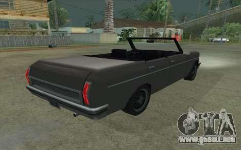 Perennial Cabriolet para GTA San Andreas vista posterior izquierda