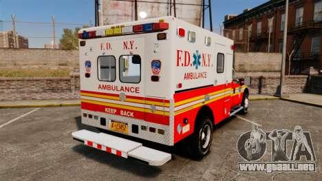 Ford F-350 2013 FDNY Ambulance [ELS] para GTA 4 Vista posterior izquierda