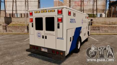 Hazmat Truck NOOSE [ELS] para GTA 4 Vista posterior izquierda