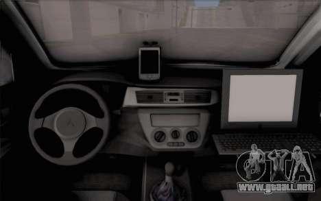 Mitsubishi Lancer Evolution IIIX para GTA San Andreas vista hacia atrás