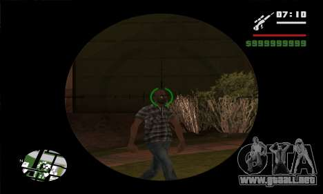 GTA V Sniper Scope para GTA San Andreas quinta pantalla