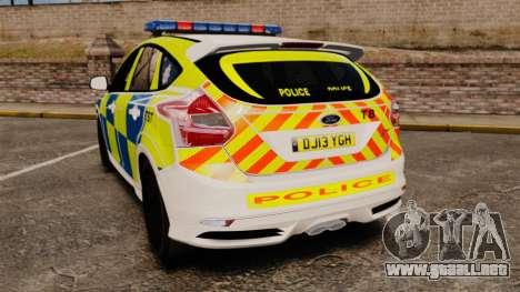 Ford Focus 2013 Uk Police [ELS] para GTA 4 Vista posterior izquierda
