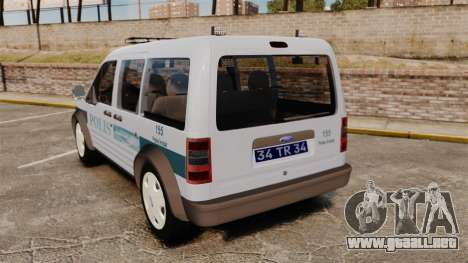 Ford Transit Connect Turkish Police [ELS] para GTA 4 Vista posterior izquierda