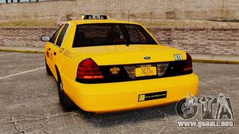 Ford Crown Victoria 1999 NYC Taxi para GTA 4 Vista posterior izquierda
