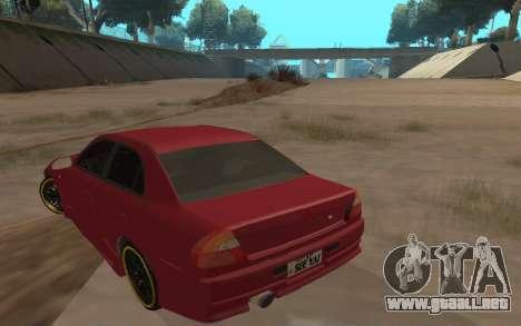 Mitsubishi Lancer Evolution VI para GTA San Andreas vista posterior izquierda