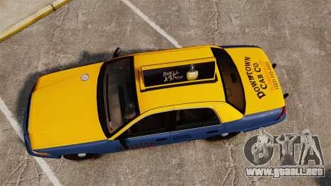 Ford Crown Victoria 1999 GTA V Taxi para GTA 4 visión correcta