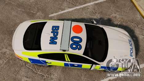 Jaguar XFR 2010 British Police [ELS] para GTA 4 visión correcta