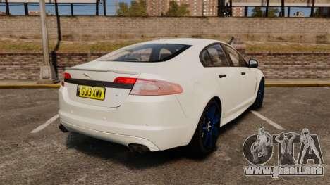 Jaguar XFR 2010 Police Unmarked [ELS] para GTA 4 Vista posterior izquierda