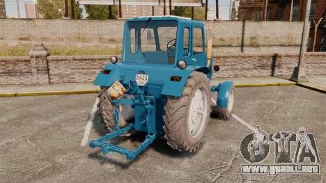 Tractor MTZ-80 para GTA 4 Vista posterior izquierda
