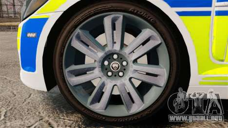 Jaguar XFR 2010 British Police [ELS] para GTA 4 vista hacia atrás