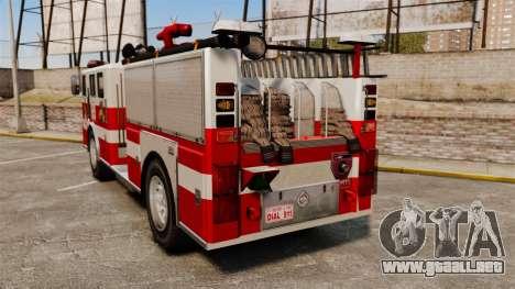 Camión de bomberos para GTA 4 Vista posterior izquierda