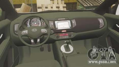 Kia Sportage Unmarked Police [ELS] para GTA 4 vista hacia atrás