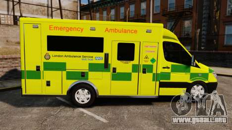 Mercedes-Benz Sprinter [ELS] London Ambulance para GTA 4 left