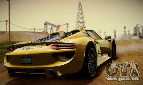 Porsche 918 Spyder 2014 para visión interna GTA San Andreas