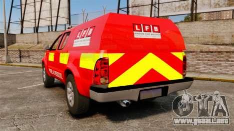Toyota Hilux London Fire Brigade [ELS] para GTA 4 Vista posterior izquierda