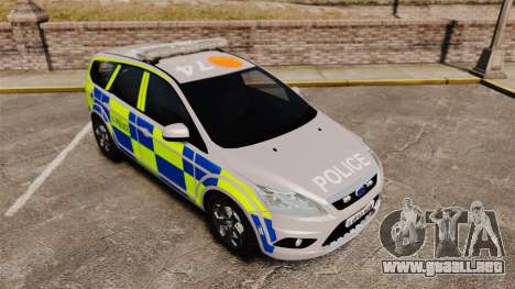 Ford Focus Estate 2009 Police England [ELS] para GTA 4 vista hacia atrás