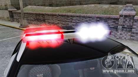 GTA V Police Elegy RH8 para GTA 4 vista hacia atrás