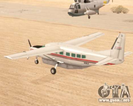 Cessna 208B Grand Caravan para GTA San Andreas vista posterior izquierda