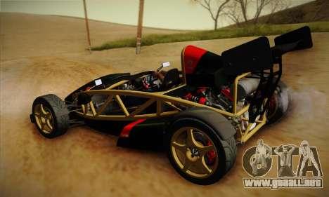 Ariel Atom 500 2012 V8 para GTA San Andreas vista hacia atrás