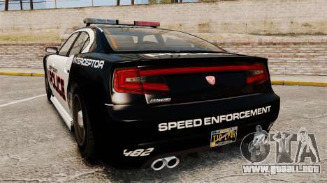 GTA V Bravado Buffalo Supercharged LCPD para GTA 4 Vista posterior izquierda