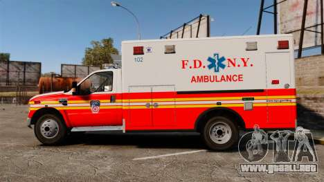 Ford F-350 FDNY Ambulance [ELS] para GTA 4 left