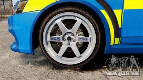 Mitsubishi Lancer Evo X Humberside Police [ELS] para GTA 4 vista hacia atrás