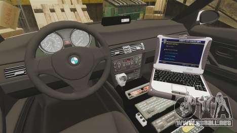 BMW 330i Metropolitan Police [ELS] para GTA 4 vista hacia atrás