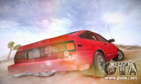 Toyota Corolla GT-S 1985 para GTA San Andreas vista hacia atrás