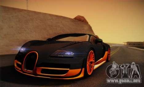Bugatti Veyron Super Sport World Record Edition para GTA San Andreas vista posterior izquierda