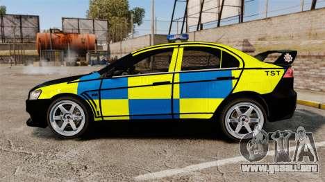Mitsubishi Lancer Evolution X Uk Police [ELS] para GTA 4 left