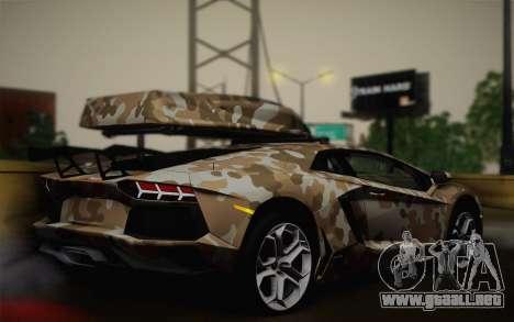Lamborghini Aventador LP 700-4 Camouflage para GTA San Andreas left