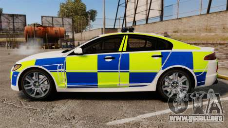 Jaguar XFR 2010 British Police [ELS] para GTA 4 left