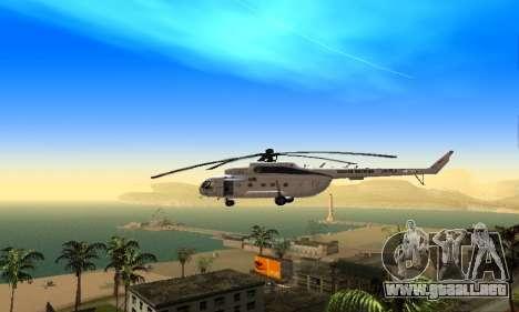 MI 8 ONU (Naciones Unidas) para GTA San Andreas vista posterior izquierda