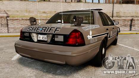 Ford Crown Victoria 2008 Sheriff Traffic [ELS] para GTA 4 Vista posterior izquierda