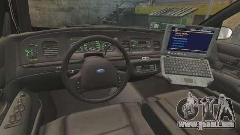 Ford Crown Victoria 1999 LCPD para GTA 4 vista hacia atrás