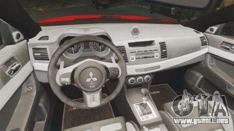 Mitsubishi Lancer Evo X Fire Department [ELS] para GTA 4 vista interior