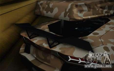 Lamborghini Aventador LP 700-4 Camouflage para GTA San Andreas vista hacia atrás