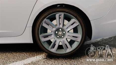 Jaguar XFR 2010 Police Unmarked [ELS] para GTA 4 vista hacia atrás
