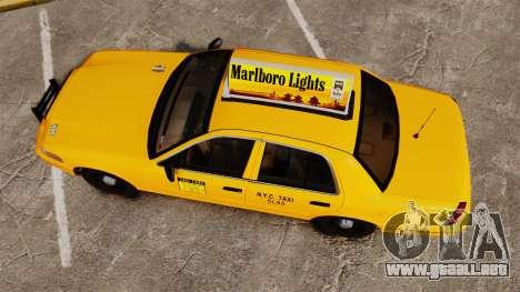 Ford Crown Victoria 1999 NY Old Taxi Design para GTA 4 visión correcta