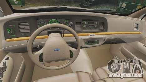 Ford Crown Victoria 1999 para GTA 4 vista hacia atrás