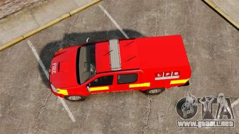 Toyota Hilux London Fire Brigade [ELS] para GTA 4 visión correcta