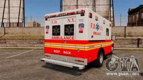 Ford F-350 FDNY Ambulance [ELS] para GTA 4 Vista posterior izquierda