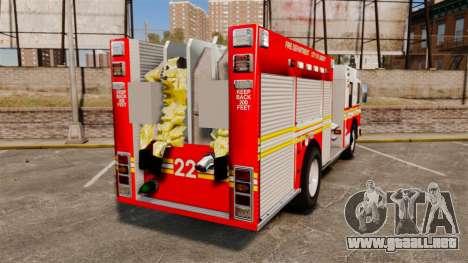 Firetruck FDLC [ELS] para GTA 4 Vista posterior izquierda