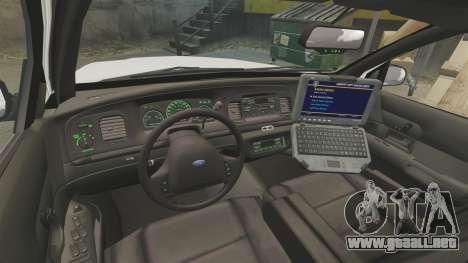 Ford Crown Victoria 1999 NYPD para GTA 4 vista hacia atrás