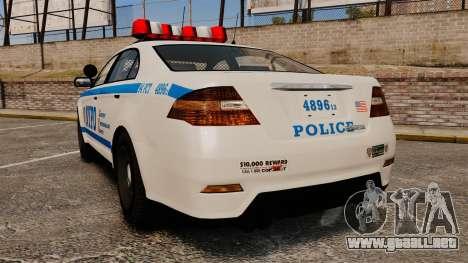 GTA V Police Vapid Interceptor NYPD para GTA 4 Vista posterior izquierda