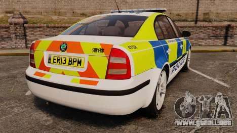 Skoda Superb 2006 Police [ELS] Whelen Justice para GTA 4 Vista posterior izquierda