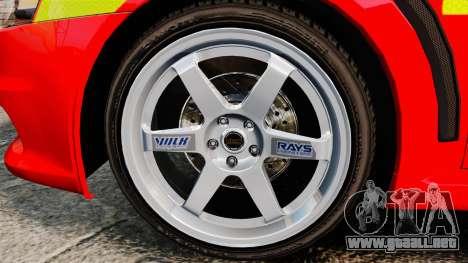 Mitsubishi Lancer Evo X Fire Department [ELS] para GTA 4 vista hacia atrás