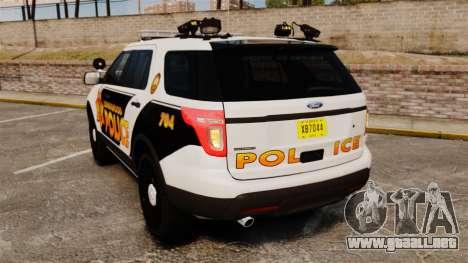 Ford Explorer 2013 Longwood Police [ELS] para GTA 4 Vista posterior izquierda