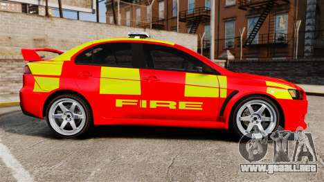 Mitsubishi Lancer Evo X Fire Department [ELS] para GTA 4 left